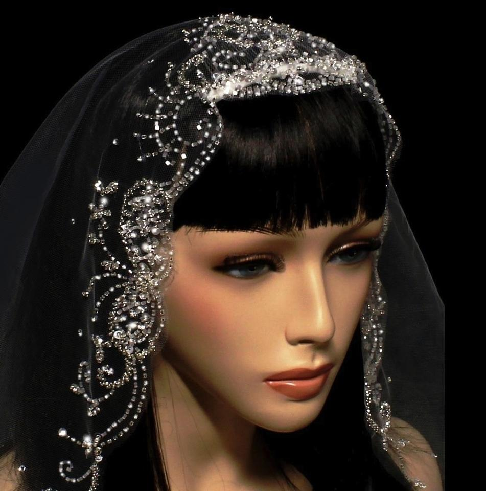 Bridal tiaras and veils -  Bella Tiara Cathedral Crystal Beaded Edge Ivory Wedding Veil