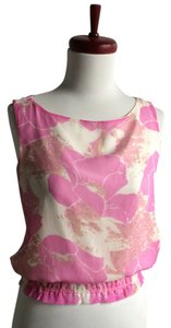 Cynthia Rowley Pink Floral Silk Top pink, white, beige