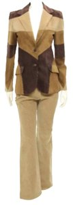 Dolce&Gabbana Dolce & Gabbana 2pc Tan Corduroy & Brown Suede Jacket & Pant Set Size 42/44