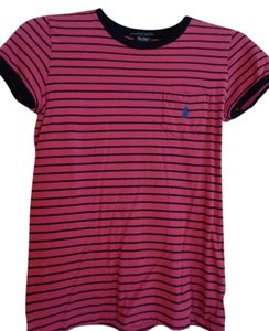 Polo Ralph Lauren T Shirt Pink with Navy Stripes