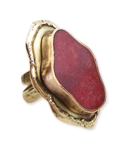 Handmade Freeform Adjustable Ring Available in Red, Gold or Teal