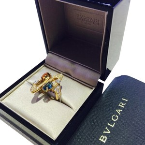 BVLGARI BVLGARI YELLOW GOLD SAPPHIRE DIAMONDS RING SIZE52