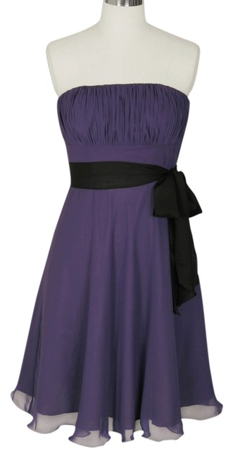 Preload https://item4.tradesy.com/images/purple-strapless-chiffon-pleated-bust-sash-knee-length-cocktail-dress-size-12-l-1305353-0-0.jpg?width=400&height=650