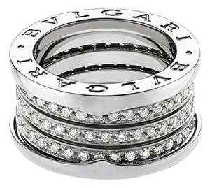 BVLGARI Bvlgari B.Zero1 18K White Gold Diamond 4 band Ring AN850556 US 5.75