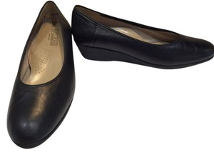 Softspots Black Leather Wedges