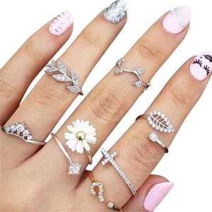 Other Fairy Silver Knuckle Floral Rings in a Set of Three