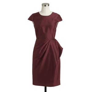 J.Crew Deep Garnet Carson Dress In Silk Dupioni Dress