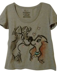Lady And The Tramp Doggy Love T Shirt Gray
