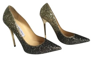 Jimmy Choo Glitter Degrade Anouk New Never Worn BLACK &NUDE Pumps