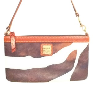Dooney & Bourke Wristlet in Brown & White Print