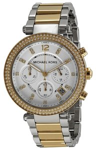 Michael Kors Crystal Pave Silver and Gold Stianless Steel Designer Casual Dress Watch