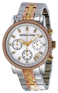 Michael Kors Tri Tone Silver Gold and Rose Gold Mother of Pearl Crystal Dial Ladies Dress watch