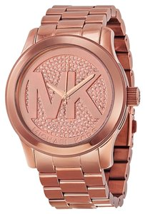 Michael Kors MK Logo Crystal Pave Dial Rose Gold Stainless Steel Oversized Designer Watch