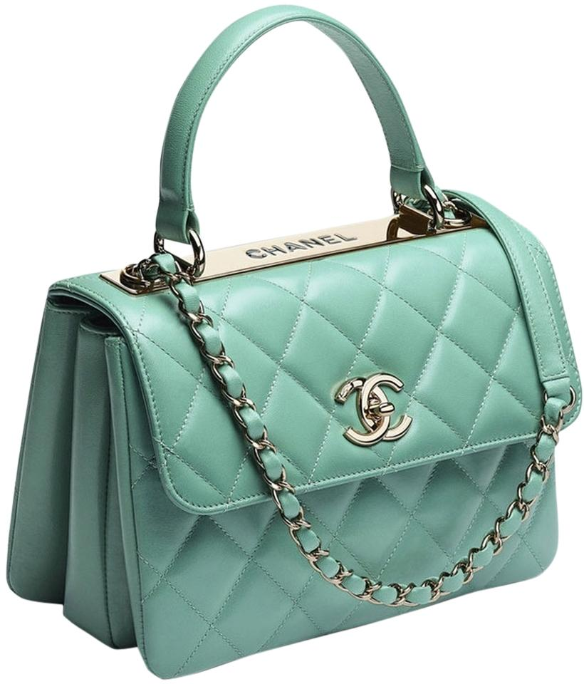 Chanel Classic Flap Trendy Cc Minty Limited Edition Ghw Rare Green Leather  Cross Body Bag a3419f6909488