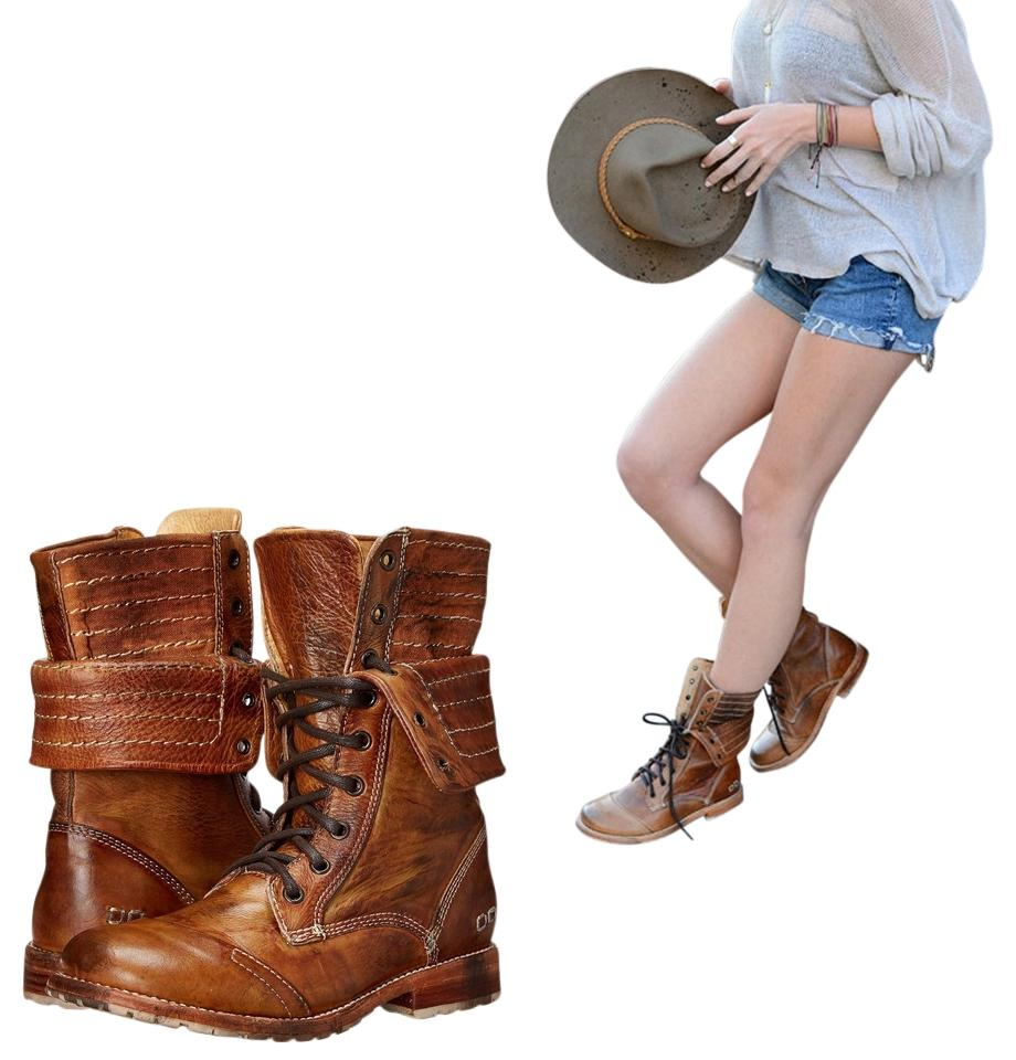 b00f8ab98b2 Bed|Stü Tan Driftwood Roanne Combat Boots/Booties Size US 6 Regular (M, B)  21% off retail