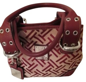 Tignanello Perfect 10 Signature Silver Hardware Tote in Cranberry/Khaki