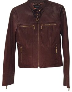 bebe Leather Zippers Moto Cognac Leather Jacket