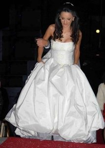 Atelier Loukia Champagne Color Silk Taffeta Handmade Ball Gown Formal Wedding Dress Size 6 (S)