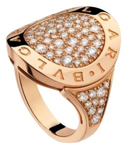 BVLGARI BVLGARI pink gold ring with pave diamonds RING AN854862 SIZE56