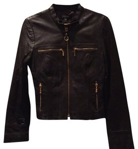 bebe Leather Zippers Moto Chocolate Brown Leather Jacket