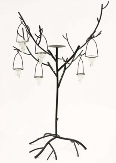 Black Two 42 Inch Iron Tree Candelabra with 5 Hanging Glass Votive Holders Reception Decoration