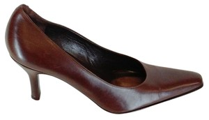 Via Spiga Classic Point Toe Leather Made In Italy Brown Pumps