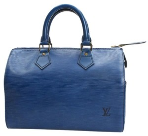 Louis Vuitton Speedy 25 Vintage Leather Satchel in blue