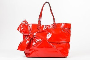 Valentino Bow Shopping Tote in Red