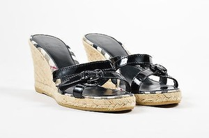 Burberry Patent Leather Black Sandals