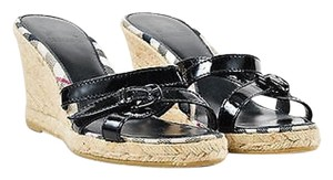 Burberry Patent Leather Strap Slide On Wedge Heels Black Sandals