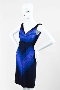 Zac Posen Purple Navy Blue Dress
