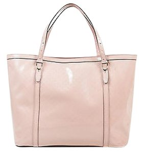 Gucci Patent Leather Monogram Embossed Tote in Pink