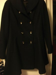 Via Spiga Fit And Flare Double Breasted Skating Pea Coat