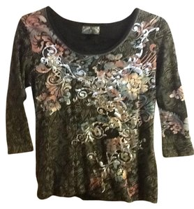 Vanilla Sugar Flowers Comfortable Cute Silverescent Top Black/Gray