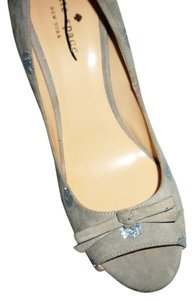 Kate Spade Peep Toe Gray Silver Suede Pumps