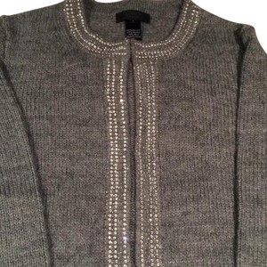 J.Crew Collection Cardigan Sweater Sequins Top Gray Silver