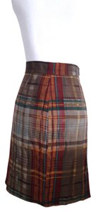 Antonio Melani Plaid Pencil Lined Pleated High-waist Skirt Brown