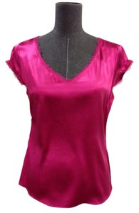 Tahari Silk Ribbon Trim Size S Top Pink