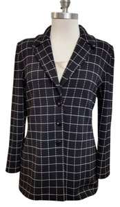 St. John Santana Knit Wool Blend Knit Classic Black & white check Blazer