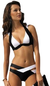 Other 2016 NEW Criss Cross Strappy 2PC Sexy Swimsuit Push Up Halter Bikini BLACK/WHT S