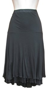 Three Dots Doublelayered Elasticwaist Silk Skirt Black