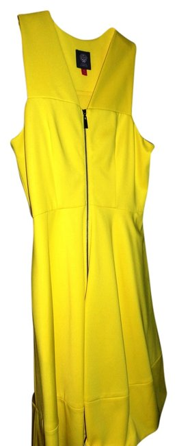 Item - Blazing Yellow Scuba Front-zip Above Knee Cocktail Dress Size 6 (S)