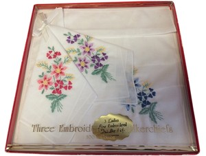 Other Three Ladies Boxed Embroidered Flowered Fine Handkerchiefs 100 percent cotton