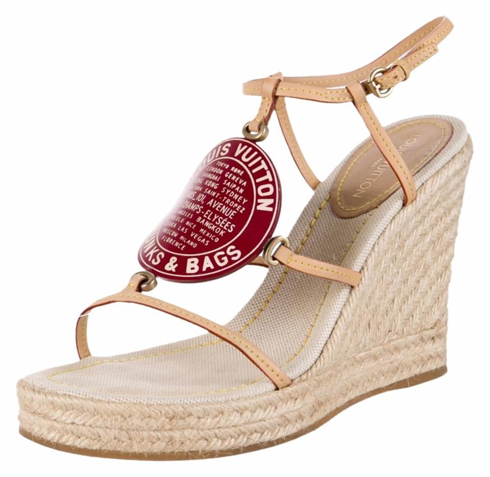 5a3e194f774 Louis Vuitton Red White Beige Pink Nude Leather Trunks and Bags Lv Monogram  Strappy Wedge 39 Sandals