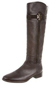 Tory Burch Riding Reva Gold Round Toe Black, Brown Boots