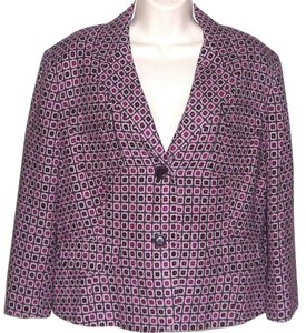 Worthington Casual Geometric Lined Purple Shade Multi Color Jacket