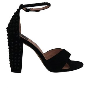 Dolce Vita Rhinestone Crystal Suede Ankle Strap Black Sandals
