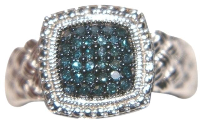Item - Silver with Blue Diamonds Braided 1/4 Carat Sterling Ring
