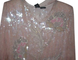 Jewel Queen 100% Pure Silk Light Pink Rhinestones Sequin Rose Pattern Skirt Suit Size L