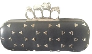 Alexander McQueen Vintage Leather Knuckle Box Knuckle Black Clutch